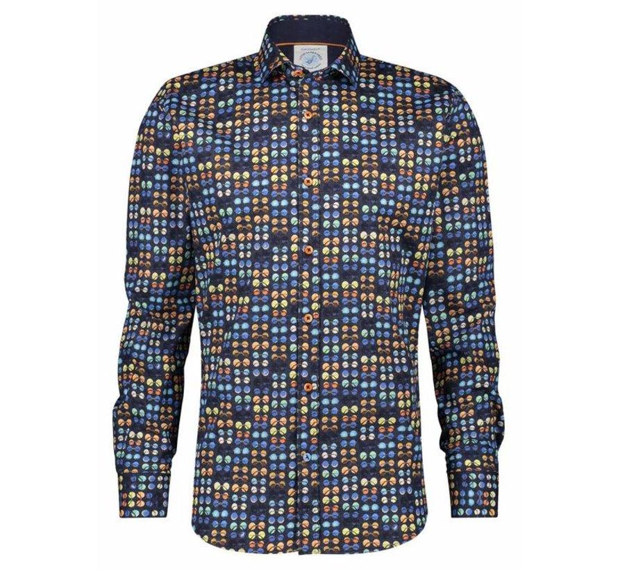 Overhemd Hippie Glasses Navy Blauw (22.01.018)