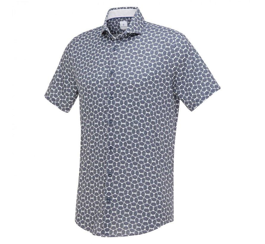 Overhemd Jersey Korte Mouw Print Navy Blauw (1268.11)