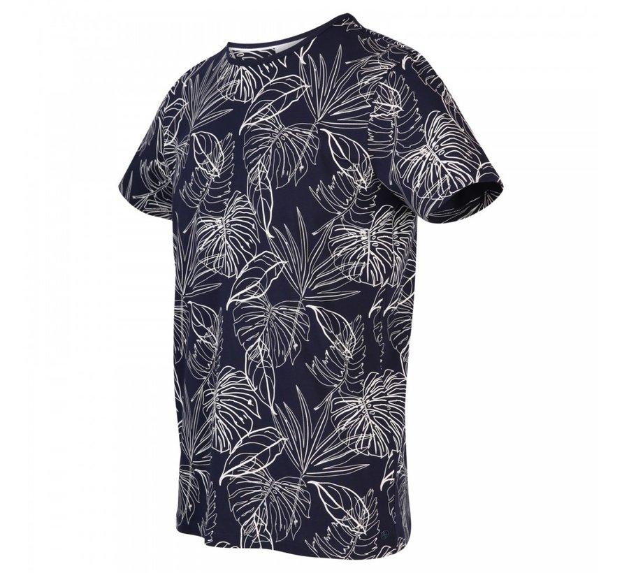 T-shirt Ronde Hals Print Marine Blauw (KBIS20 - M54 - Marine)