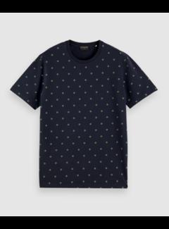 Scotch & Soda T-shirt Jersey Print Navy Blauw (162372 - 0221)
