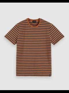 Scotch & Soda T-shirt Jersey Streep Oranje (162372 - 0222)