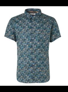 No Excess Overhemd Korte Mouwen Stretch Print Indigo Blauw (11420309 - 136)