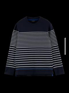 Scotch & Soda Longsleeve T-shirt Breton Streep Navy (163958 - 0217)