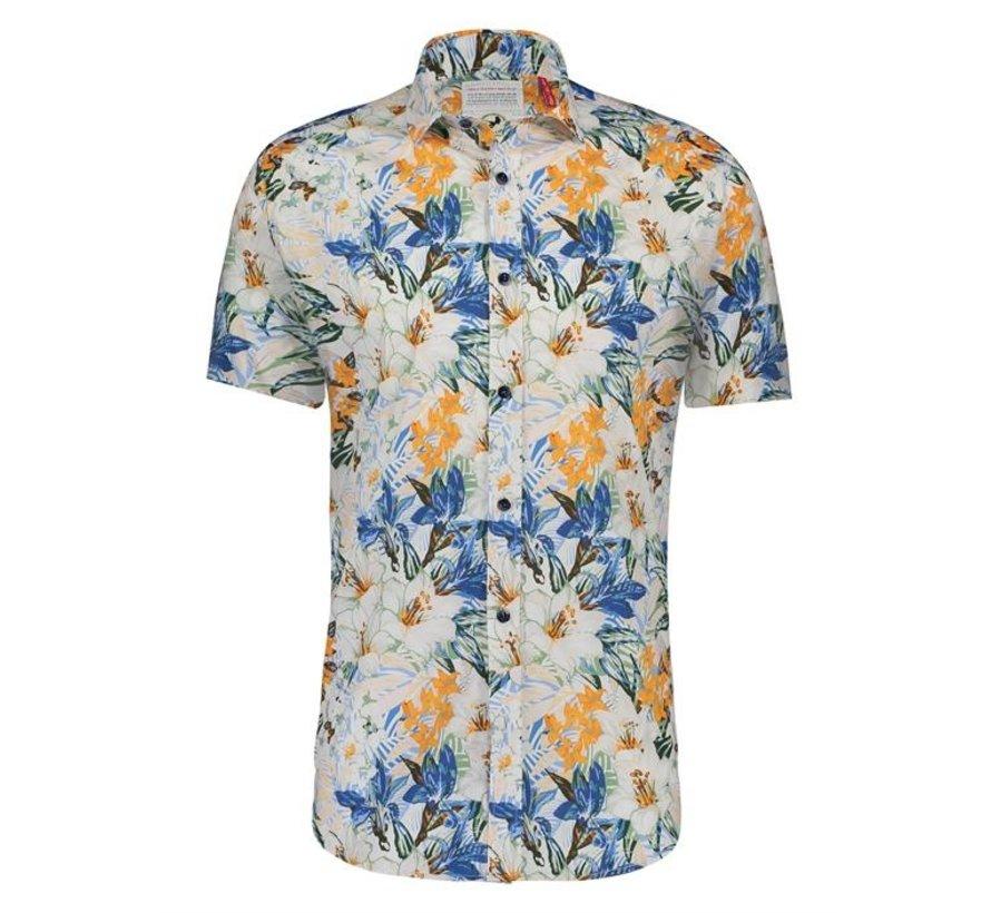 Overhemd korte mouw Jungle Flowers Green (20.03.089)