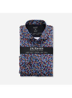 Olymp Overhemd Luxor 24/Seven Body Fit Print Blauw (2010 84 53)