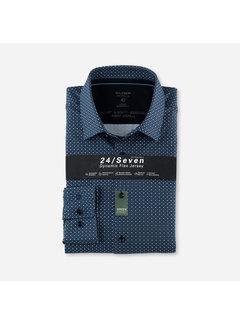 Olymp Overhemd Luxor 24/Seven Modern Fit Print Marine Blauw (1234 84 18)