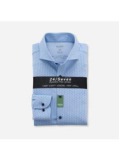 Olymp Overhemd Level Five 24/Seven Body Fit Print Blauw (2020 84 11)