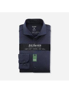 Olymp Overhemd Level Five 24/Seven Body Fit Print Marine Blauw (2020 84 18)