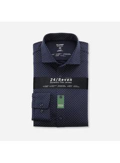 Olymp Overhemd Luxor 24/Seven Modern Fit Print Marine Blauw (1224 84 18)