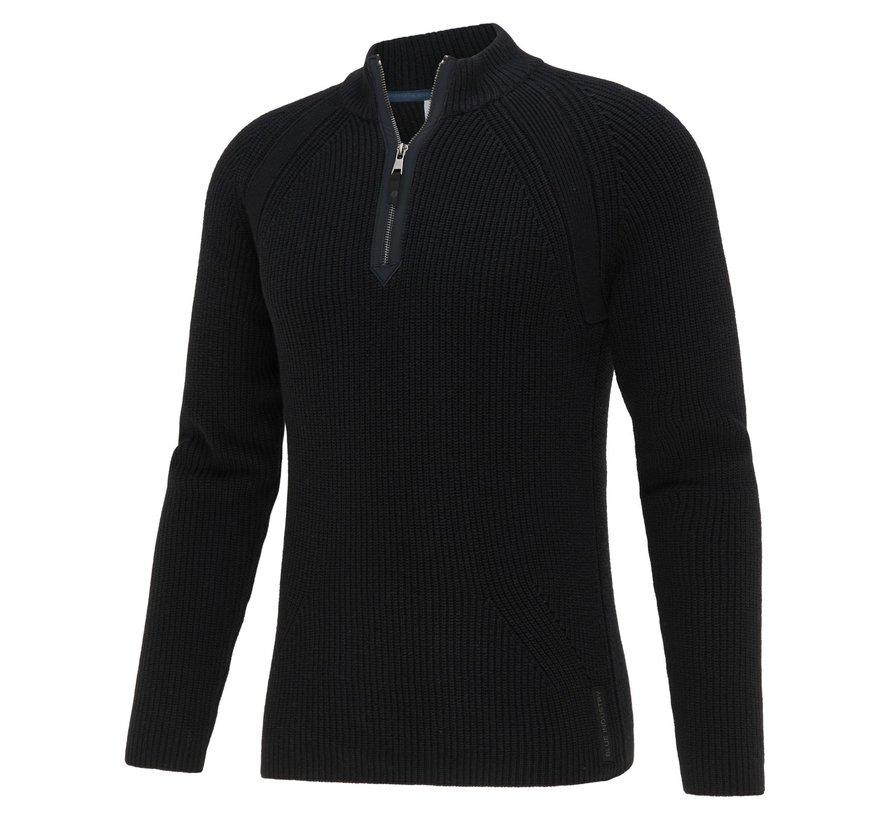 Pullover Half-Zip Structuur Zwart (KBIW21 - M9 - BLACK)