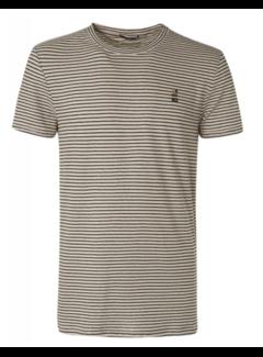 No Excess T-shirt Ronde Hals Streep Linnen Sand (11320302 - 015)