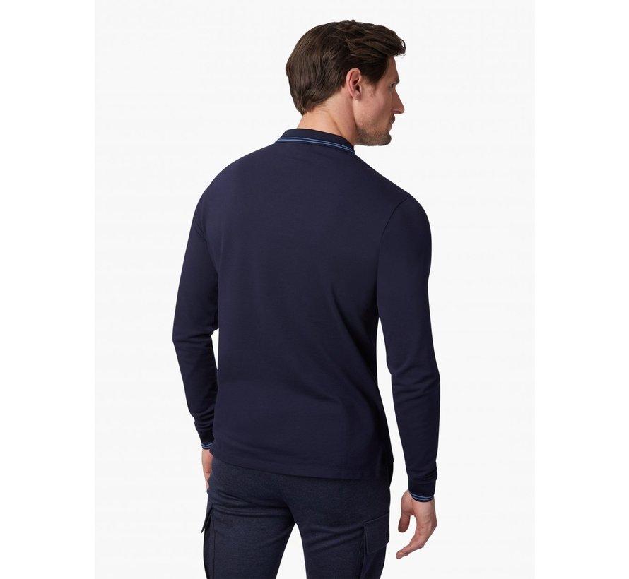 Longsleeve Polo Placido Stretch  Dark Blue (116215003 - 699000)