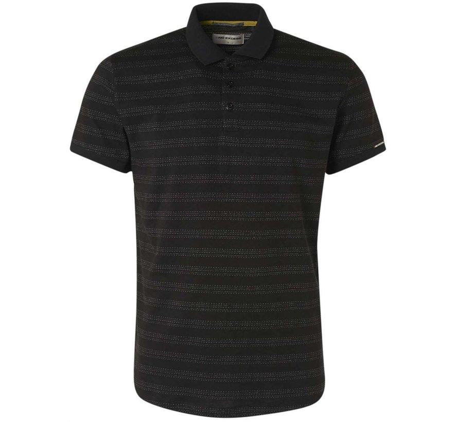 Polo Korte Mouw 2 Coloured Jacquard Black (11370351 - 020)