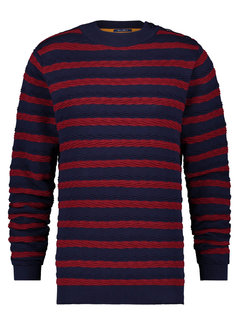 A Fish Named Fred Sweater Cable Navy/Red (23.01.511)