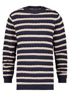 A Fish Named Fred Sweater Cable Navy/Off White (23.01.524)
