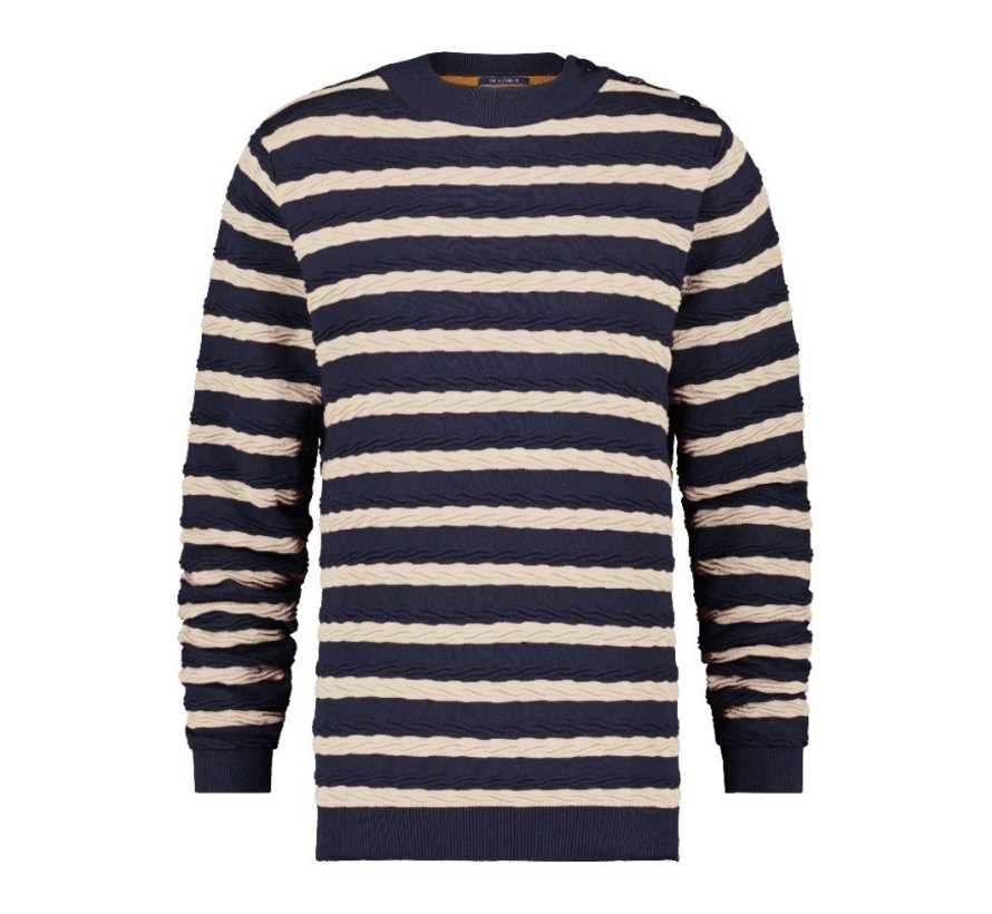 Sweater Cable Navy/Off White (23.01.524)