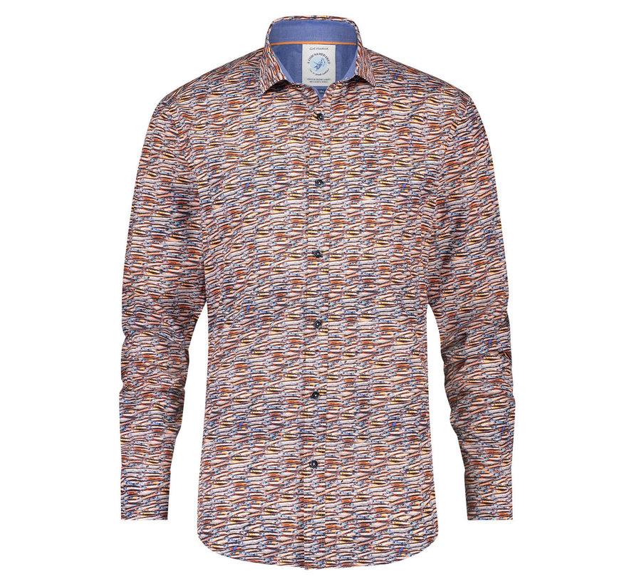 Overhemd Stretch Sardines Brown (23.02.042)