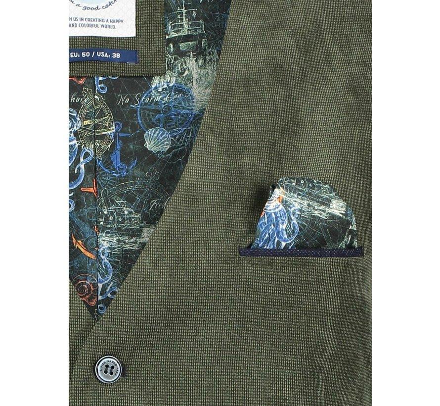 Gilet Printed Rib Cord Green (23.02.130)