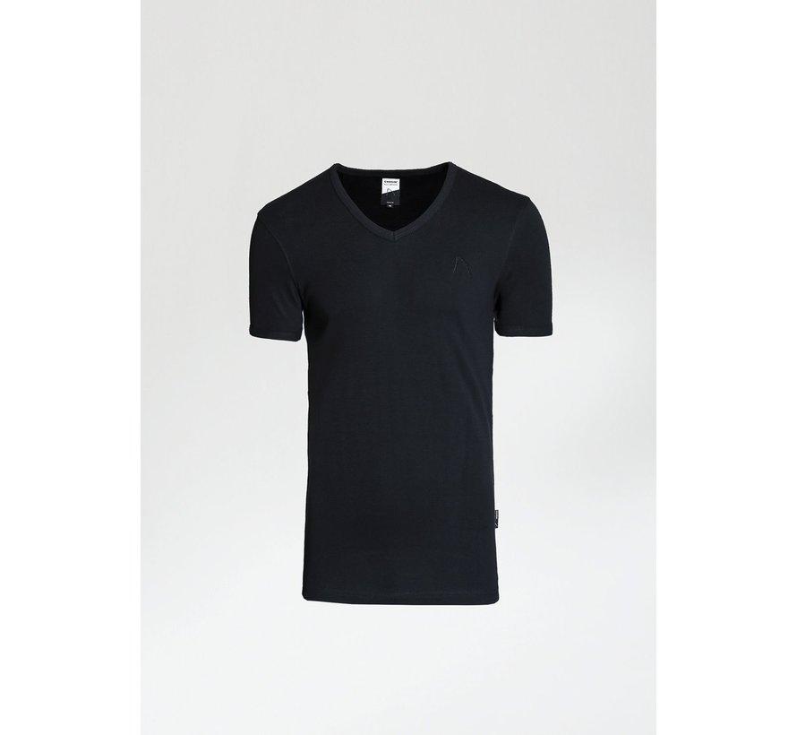 T-shirt V- Hals CAVE-B Zwart (5212.400.012 - E90)