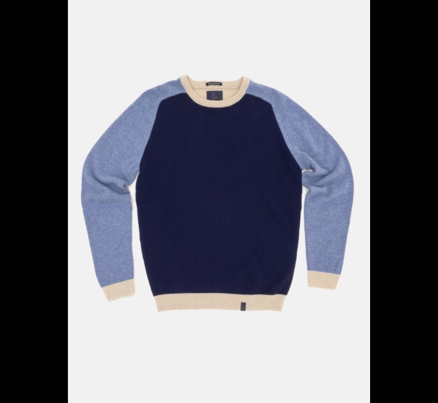 Trui Wol Colourblock Blue Beige (9221 - 145 - 901)