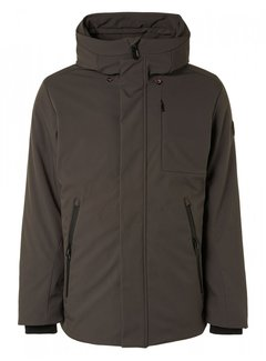 No Excess Winterjas Long Fit Hooded Stretch Softshell Mud Grey (12630906SN - 149)N