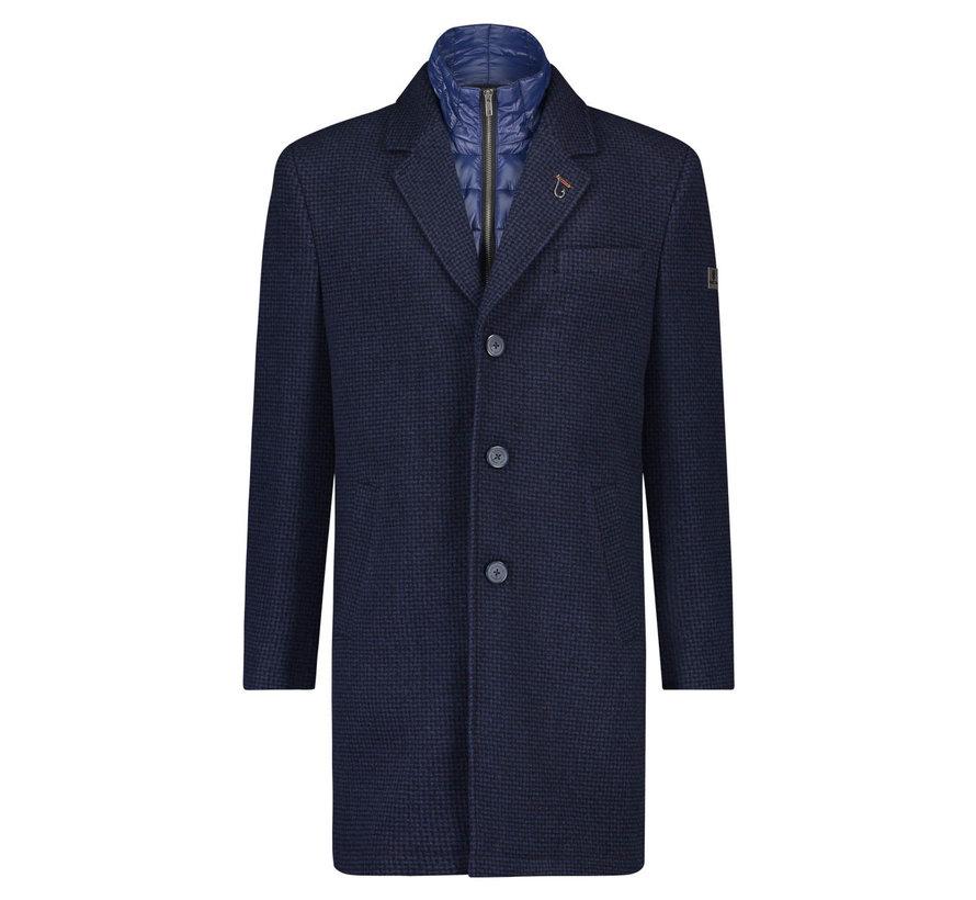 Winterjas Coat Blue Small Check (23.02.168)