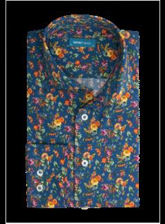 District Indigo Overhemd Print Blauw Extra Longsleeve (7.12.026.799 - 916)