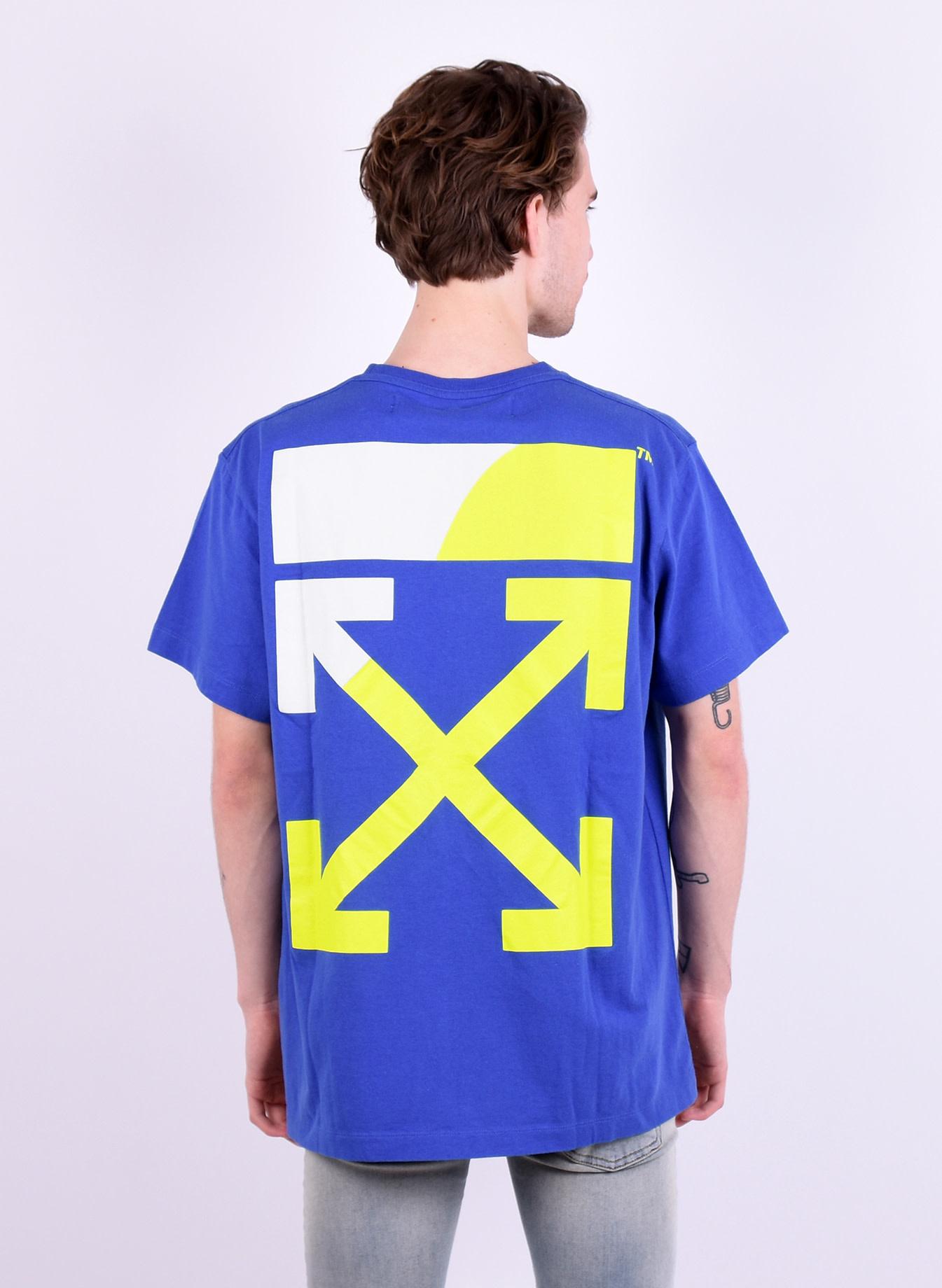 dbb31d2b1e0d Off-White 'Split Logo' T-shirt Blue Yellow - Mensquare