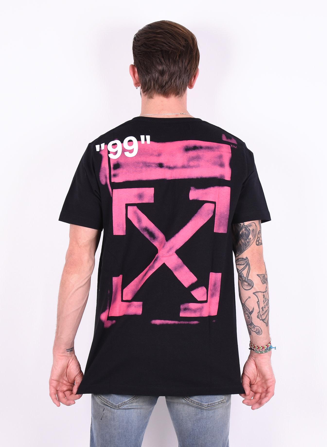 2ff0df35 Off-White 'Stencil Slim Tee' T-Shirt Black Fuchsia - Mensquare
