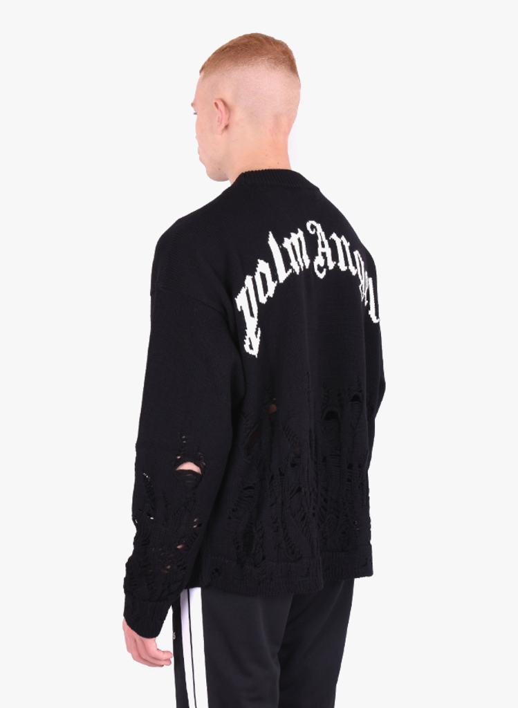 Palm Angels 'Distressed Flames' Sweater Zwart FW20 Mensquare