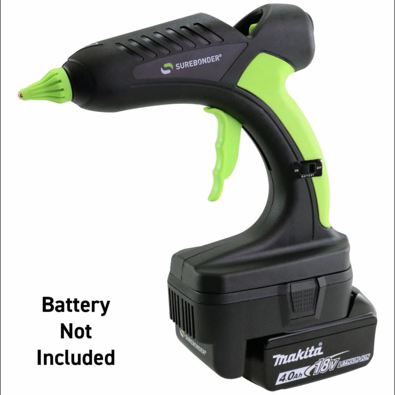 Pistola de pegamento inalámbrico Surebonder con adaptador de batería Makita