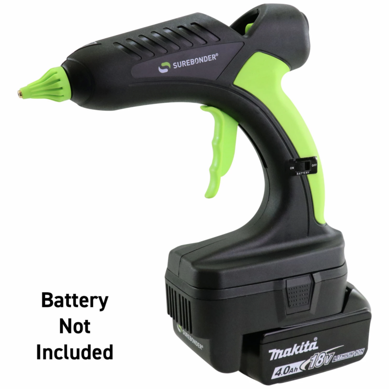 Surebonder Cordless Glue Gun 185°C with Makita battery adapter