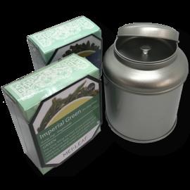 AANBIEDING: gratis theeblikje met binnendeksel cadeau bij aanschaf van twee pakjes thee