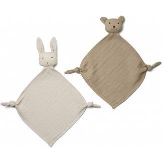 LIEWOOD Yoko mini knuffeldoekjes 2/pack sandy/stone beige