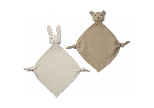 Yoko mini knuffeldoekjes 2/pack sandy/stone beige