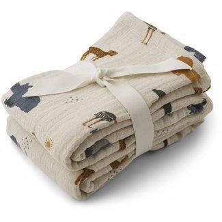 LIEWOOD Lewis muslin cloth 2-pack safari sandy mix