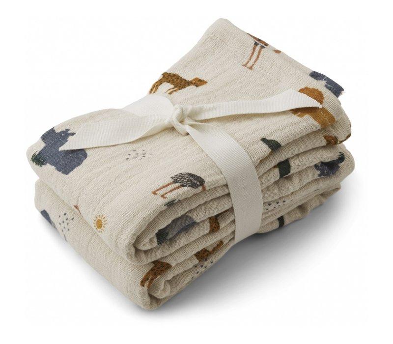 Lewis muslin cloth 2-pack safari sandy mix