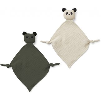 LIEWOOD Yoko mini knuffeldoekjes 2/pack panda hunter green/sandy mix