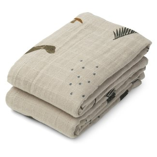 LIEWOOD Lewis muslin cloth 2-pack dino/dark sandy
