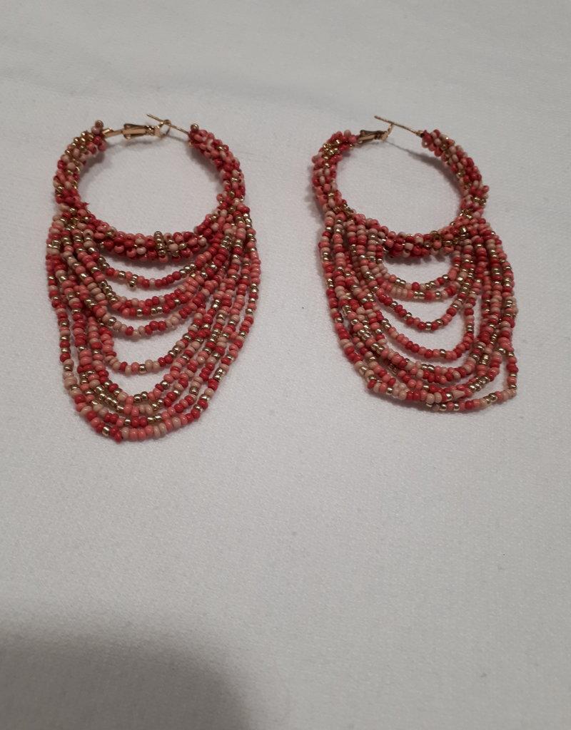 About accessories Oorbellen met roze kralen