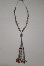 About accessories Zilverkleurige lange ketting met kralen