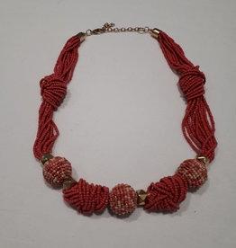 About accessories Gedraaide roze ketting met kralen