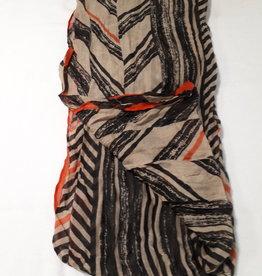 About accessories Ladies Scarf Orange Striped 70 x 180 cm