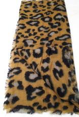 About accessories Dames Sjaal Okergeel met Print 70 x 180 cm