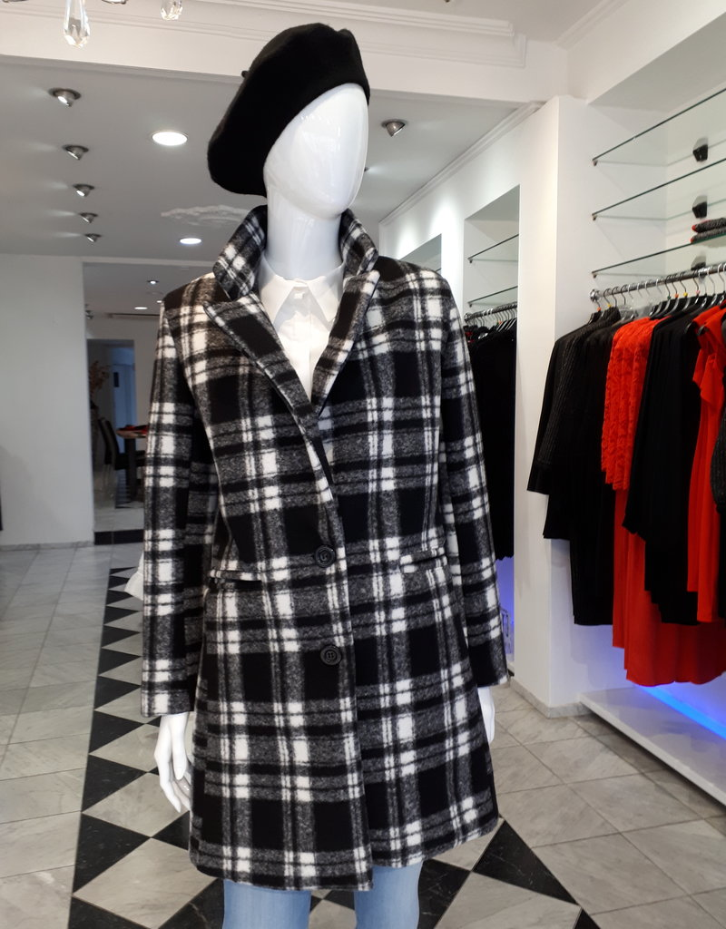 Miss Miss Coat Black with White CFC0042579004