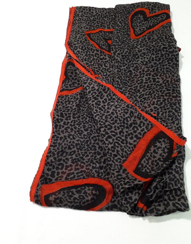 About accessories Dames Sjaal Panterprint met Hartjes