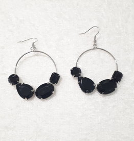 A-Zone Earrings with black stones