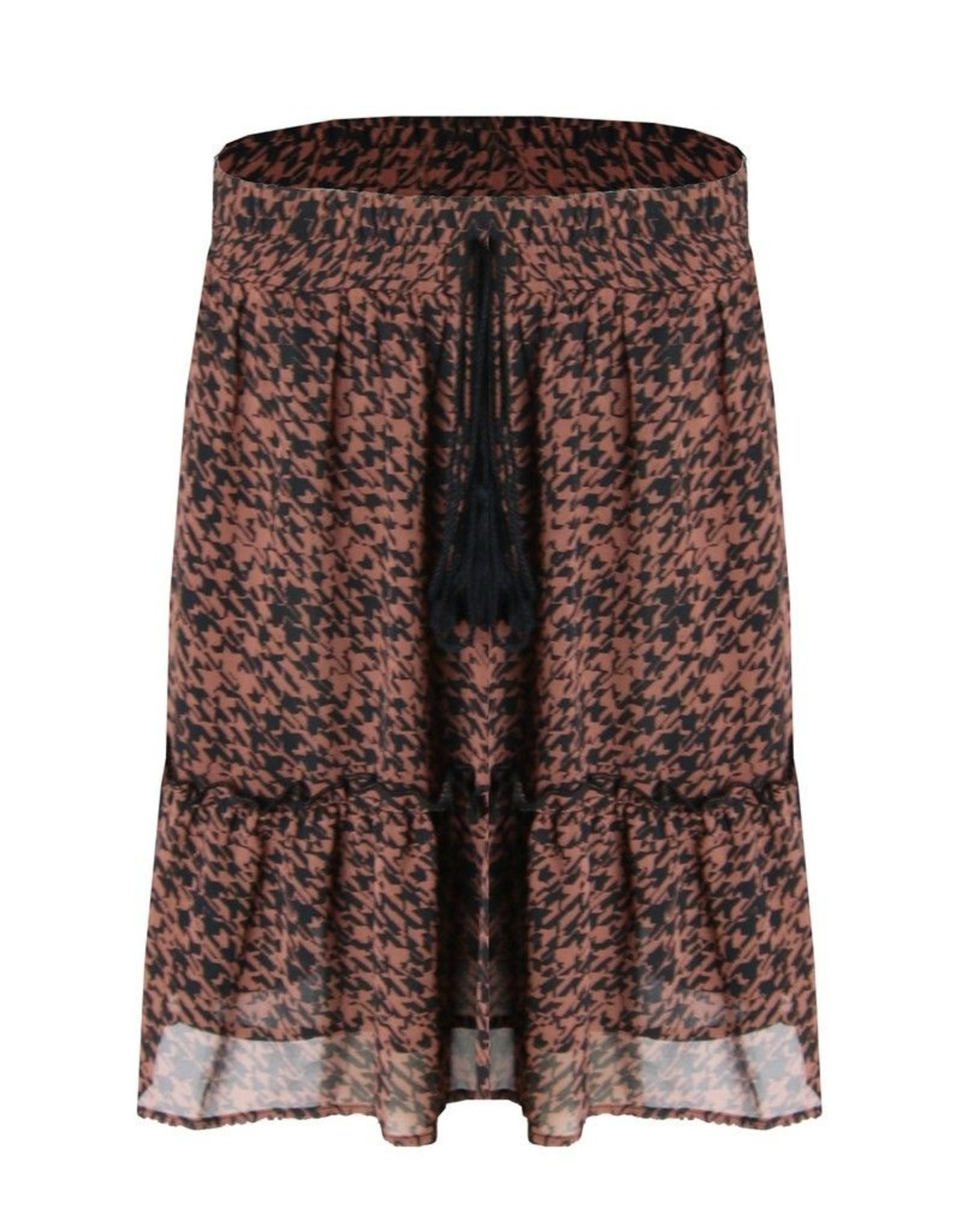 C&S Skirt Rusty Brown Black with Ruffles
