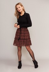 C&S Skirt Rusty Brown Black with Ruffles