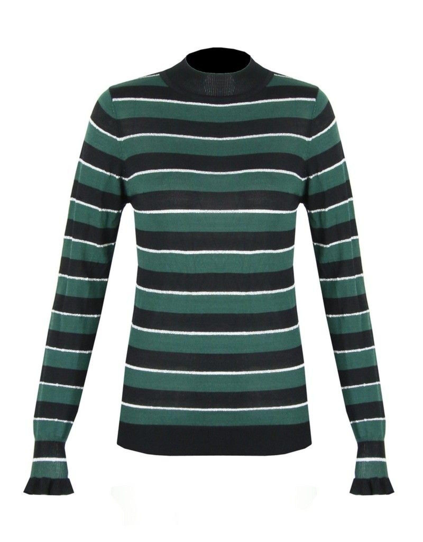 C&S Sweater Green with Black Stripes